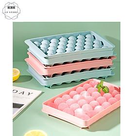 Set 2 Khuôn làm thạch bi nhựa tròn làm hoa quả viên trái cây, khuôn rau câu, khay đá viên tròn 33 viên