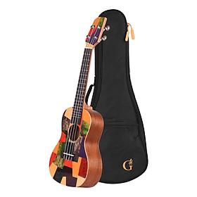 Đàn Ukulele bằng gỗ đầy màu sắc kèm túi đựng - 23 inch