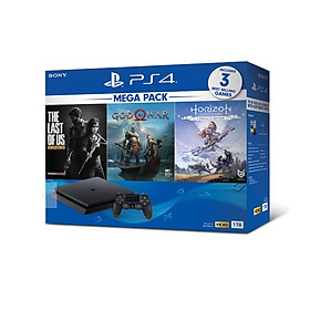 Bộ Máy PS4 Slim 1TB Model CUH-2218B MEGA kèm 3 Game God Of War ,The Last Of Us ,Horizon Zero Dawn  - Hàng Chính Hãng