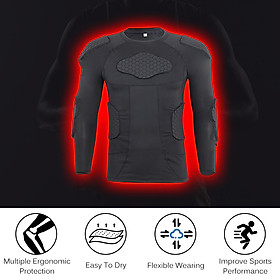 Men Padded Compression Shirt Multiple Pad Protective Gear for Football Baseball Soccer Basketball Volleyball Training-7