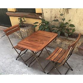 Bộ bàn ghế xếp chân sắt mini Patio ( 1 bàn + 2 ghế )