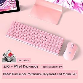 HOTSWAP - Combo bàn phím cơ chuột không dây Royal Kludge RK100S Chế độ kết nốt kép , cổng sạc Type C thế hệ mới dành cho Laptop máy tính PC - Hàng chính hãng