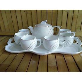 Bộ bình trà  cốc sứ xương kèm khay cao cấp