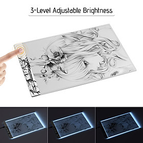 A4 LED Light Box Tracer Drawing Board Copy Board Pad 3.5mm Ultra-Thin 3-Level Adjustable Brightness Unique Pattern with
