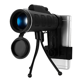 40X60 Outdoor Monocular BAK4 Monocular Telescope HD Vision Prism Scope Built-in Compass with Universal Phone Holder for