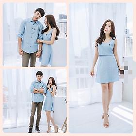 Set đồ đôi áo váy cặp CoupleTina cao cấp - Màu xanh Pastel - Sáng da- Thời thượng