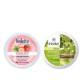 Bộ Đôi Mặt Nạ Vedette (Dưỡng Ẩm Sữa Chua Dâu 120ml, Ủ Tóc Olive Suôn Mượt 110g)