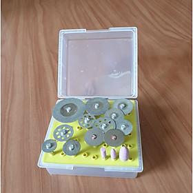 Hộp 10 dĩa cắt kim cương, 2 dĩa cắt gỗ và 3 mũi đá chân 3ly dùng cho máy khoan mài khắc - lưỡi cưa cắt mini