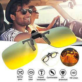Yellow High End Alloy Driving Anti-Glare UV400 Polarized Day Night Vision Sunglasses Clip