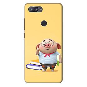 Ốp lưng nhựa cứng nhám dành cho Xiaomi Mi 8 Lite in hình Heo Mọt Sách