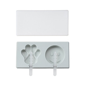 Cute Silicone Ice Mold with Lid Ice Cream Mold Popsicle Molds DIY Ice Bar Mould with Reusable Sticks