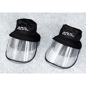 Nón vải có kính bảo vệ,chống giọt bắn virus, khói bụi, giao chữ ngẫu nhiên - màu đen
