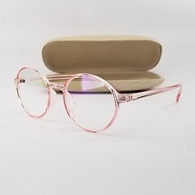 Gọng kính cận nam nữ mắt tròn màu nâu, hồng đen chất liệu nhựa dẻo SA2417. Tròng kính giả cận 0 độ chống nắng, chống tia UV