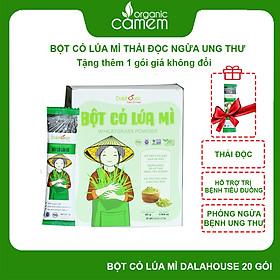 Bột cỏ lúa mì hữu cơ sấy lạnh Dalahouse - Hộp 20 gói 3gr tiện lợi - Hỗ trợ thải độc Gan và Máu, Ngăn ngừa và hỗ trợ tiểu đường, Hỗ trợ tiêu hóa, giảm táo bón