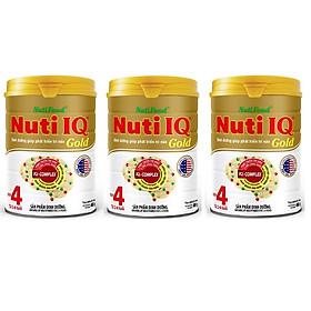 Bộ 3 Lon Sữa Bột Nutifood Nuti IQ Gold Step 4 (900g) – DD giúp phát triển trí não (Cho bé 2-6 tuổi)