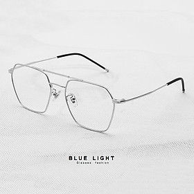 Kính Giả Cận, Gọng Kính Cận Nam Nữ Mắt Vuông Gọng Bạc Không Độ Hàn Quốc - BLUE LIGHT SHOP