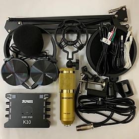 combo thu âm livestream cực đỉnh K10 và mic bm900 full phụ kiện