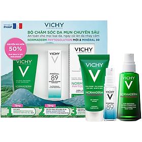 Bộ Hộp Chăm Sóc Da Chuyên Sâu Dành Cho Da Dầu Mụn Vichy Normaderm Phytosolution (50ml) Và Dưỡng Chất Mineral 89 (10ml)