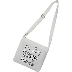 Túi tote mini đeo chéo TROY vải canvas in hình meow đeo kính dễ thương