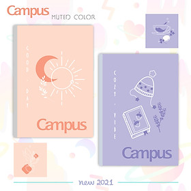 Lốc 10 cuốn vở kẻ ngang 80tr Campus Mute Color