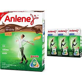 Sữa Bột Anlene Gold Movepro Hương Chocolate (Hộp Giấy 440g) 01 Lốc 03 Hộp Sữa Anlene UHT 180ml
