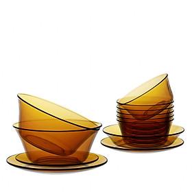 Bộ bàn ăn 12 món thủy tinh cường lực Pháp Duralex Lys ( Vàng Amber/ Xanh Saphir/ Xanh Marine/ Nâu khói Creole)