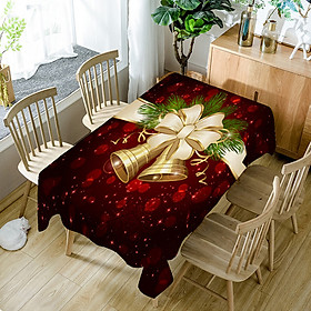 Home Christmas Bell 3D Printed Pattern Rectangular Tablecloths Party Picnic Dustproof Table Cover Tea Machine Cloth Bedside Cabinet Mat