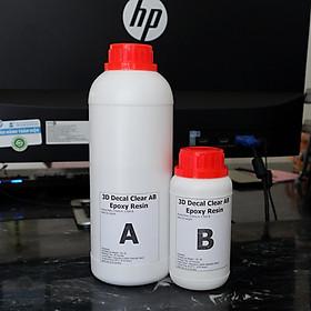Bộ 1KG Keo Đổ Nhựa Loại Khô Dẻo Chuyên Đổ Tem 3D Decal Clear AB Epoxy Resin DTAB3-A2 1kg