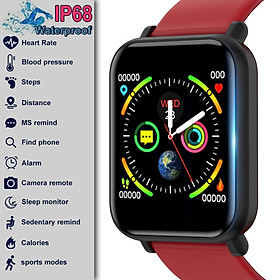 Color Screen Smart Watch IP68 Waterproof for Men Women Watch with Heart Rate Blood Oxygen Pressure Monitor Sporty Bluetooth Smart Watch Fitness Tracker Smart Bracelet Wristband For Android Apple Phone VS Apple Watch 4 (Black,Red,Navy Blue,Pink)