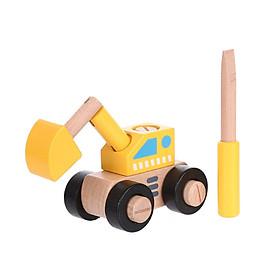 Đồ chơi gỗ xếp hình Miniso xe cần cẩu 220g - Hàng chính hãng