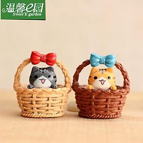 Mèo Trong Giỏ Làm Tiểu Cảnh, trang trí terrarium, bánh gato, DIY, đồ handmade