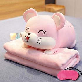 Bộ gấu gối mền CHUỘT LƯỜI 3 trong 1, gấu bông kèm chăn gối ngủ trưa văn phòng, du lịch, cho bé (Tặng Bịt mắt ngủ màu ngẫu nhiên)