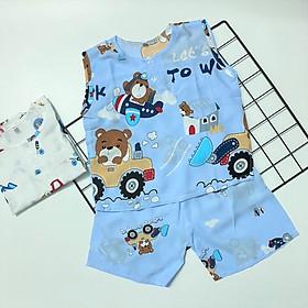 Set 2 bộ đồ bé trai sát nách TomTom Baby chất vải tole, lanh mềm, mịn, mát mùa hè cho bé trai, hàng Việt Nam chất lượng