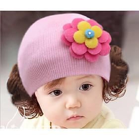 Nón Len bé gái Mũ Len bé gái phối tóc giả DN20101106