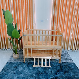 Giường Cũi 2 Giát - Sản Phẩm Giường Cũi Gỗ Mỡ Yên Bái Màu Tự Nhiên