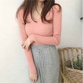 áo len dệt kim nữ cổ V dài tay kẻ sọc theo phong cách Hàn Quốc thiết kế nhẹ nhàng(4 màu hồng kem xám nâu)
