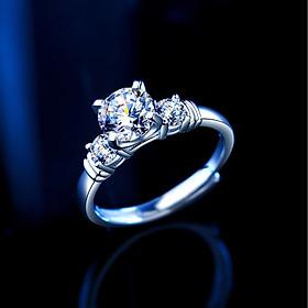 NS002 Nhẫn bạc đính đá Moissanite một carat