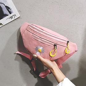 Túi Bao Tử Đeo Chéo Canvas Nữ Mini Thêu Hoa Cúc Trẻ Trung Nhiều Màu