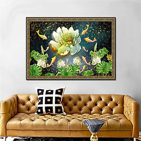 Tranh phòng ngủ - tranh cá cửu ngư quần hội - Cá chép hoa sen: 2473L8