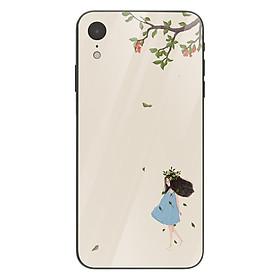 Ốp kính cường lực in họa tiết Cô gái đội vòng nguyệt quế dưới tán cây - THNH0015 cho điện thoại iPhone XR