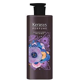 Cặp gội xả nước hoa hương Violet tím và hoa diên vỹ Kerasys Elegance Amber Hàn Quốc 600ml tặng kèm móc khóa-1