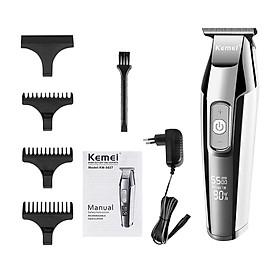 Bộ dụng cụ cắt tóc KEMEI với tông đơ điện LCD + 3 lược dẫn hướng + 1 mũ bảo vệ đầu tông đơ + 1 cọ làm sạch + cáp sạc