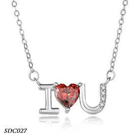 Dây chuyền chữ cong liền mặt có chữ I love you bạc Ý cao cấp - SDC027