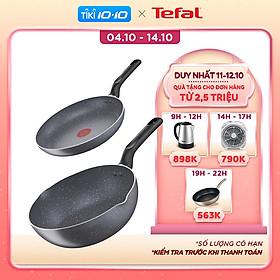 Combo Chảo chiên Tefal Natura B2260295 20cm & Chảo chiên sâu lòng Tefal Natura B2266495 24cm - Dùng được trên bếp gas/ bếp hồng ngoại - Công nghệ báo nhiệt thông minh - Hàng chính hãng