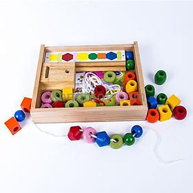Xếp chuỗi hạt - đồ chơi trẻ em bằng gỗ khéo tay