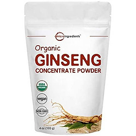 Maximum Strength Organic Ginseng Root 200:1 Powder, 4 Ounce, High Ginsenosides to Support Energy, Immune System, Mental Health & Physical Performance, No GMOs & Vegan Friendly