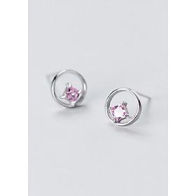 Bông Tai Nữ | Bông Tai Nữ Bạc S925 Mặt Tròn Gắn Đá B2492 - Bảo Ngọc Jewelry