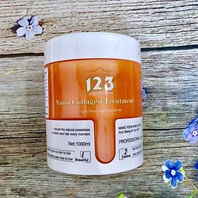 Dầu hấp ủ lụa tóc 123 Nano Collagen Treatment siêu mượt tinh chất dừa (New màu cam) 1000ml-2