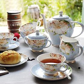 Bộ ấm trà 15 món sứ xương cao cấp màu xanh