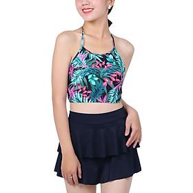 Bikini 2 Mảnh Monica Áo Yếm Họa Tiết Lá Đan Dây Lưng BIT 3015 - Xanh (Free Size)